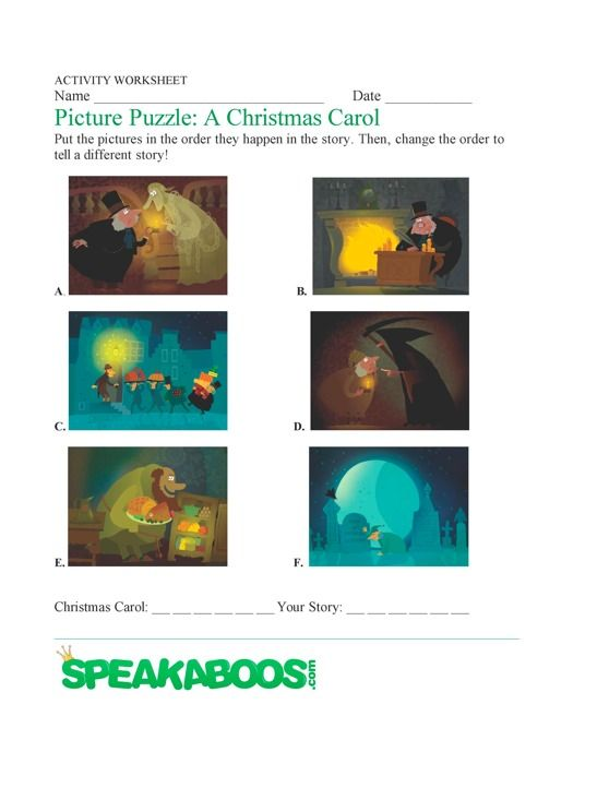 Picture Puzzle: A Christmas Carol | Speakaboos Worksheets @Julisa ...
