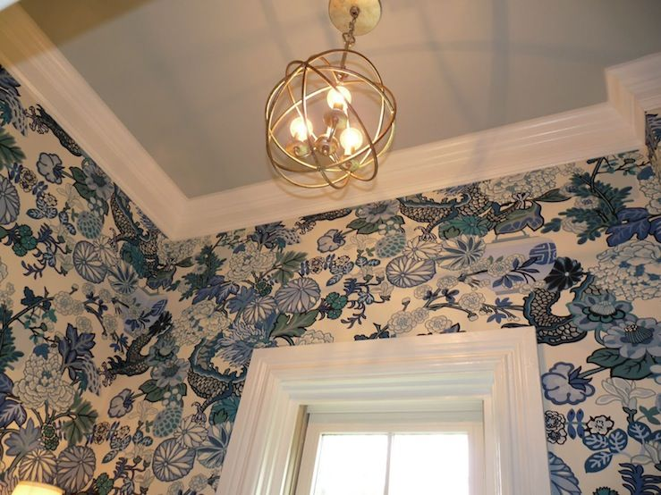 Gorgeous powder room design with china blue chiang mai dragon gorgeous powder room design with china blue chiang mai dragon wallpaper blue gray painted ceiling and crystorama solaris mini chandelier in brass aloadofball Images