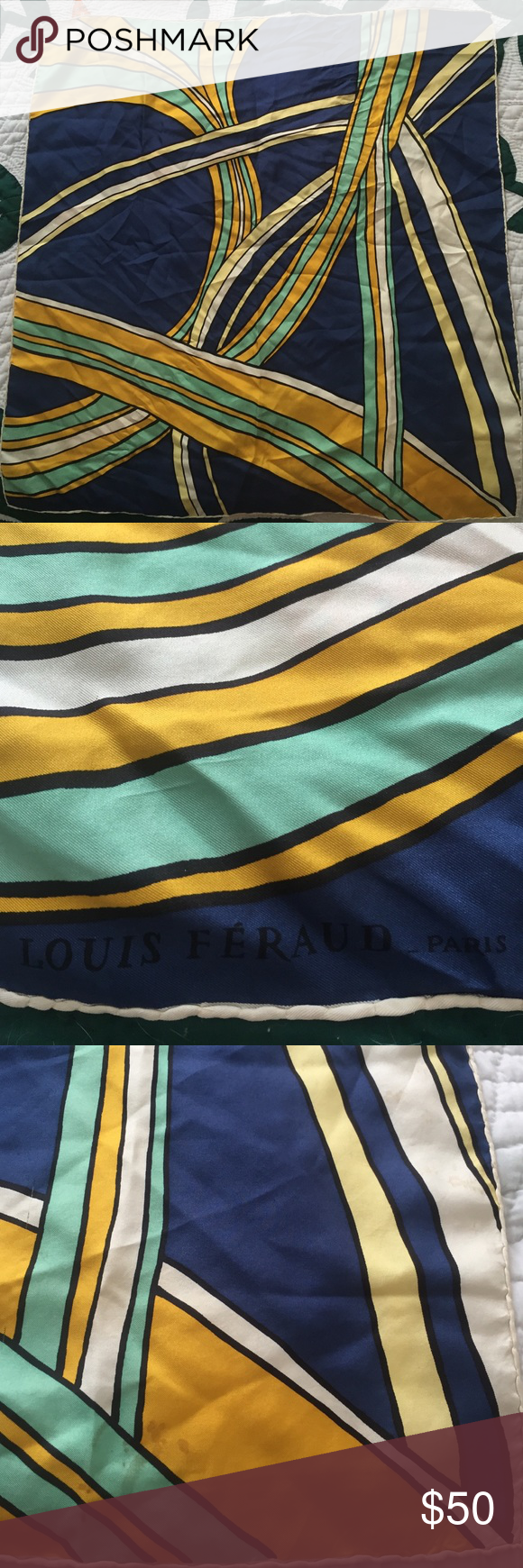 Louis Feraud Silk Scarf Beautiful vintage silk scarf. Has minor stains pictured in last picture Louis Feraud Accessories Scarves & Wraps