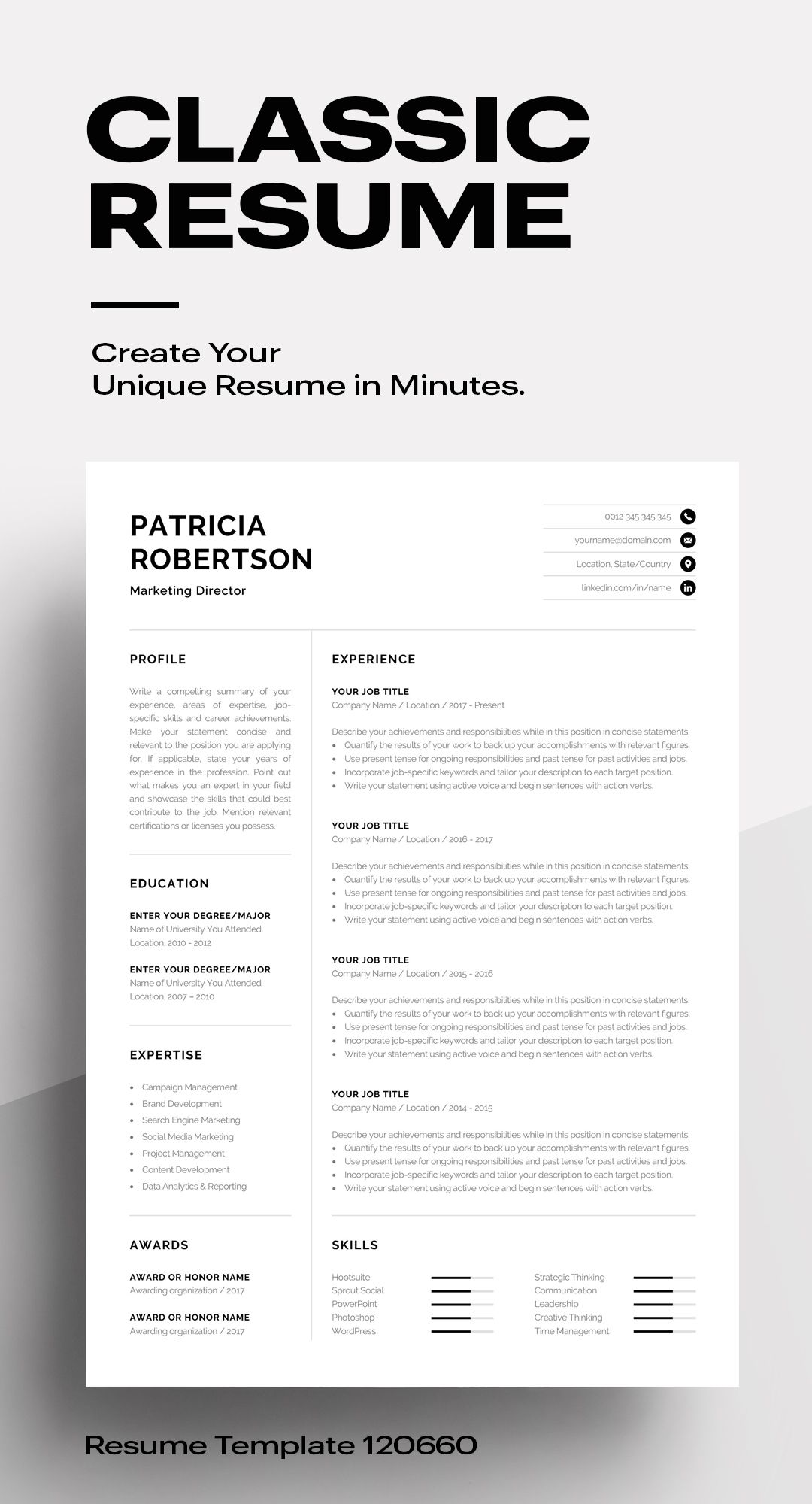 Classic Resume Template 120670 (color grey) MS Word