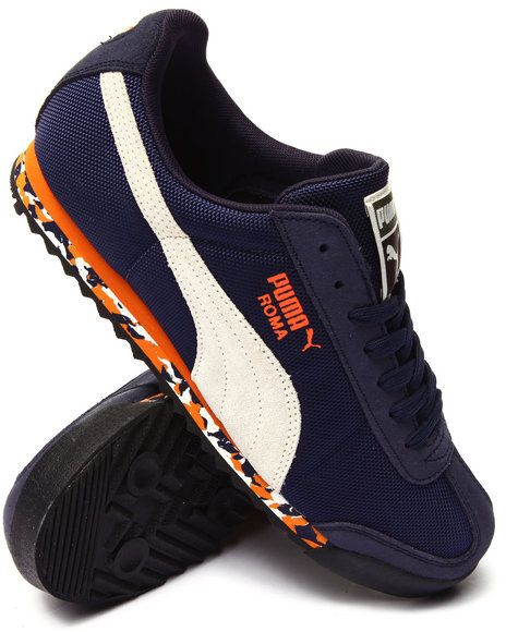 outlet store 1afa8 d2680 Puma Roma - Dark blue with orange, white, and blue sole Nike Outfits,