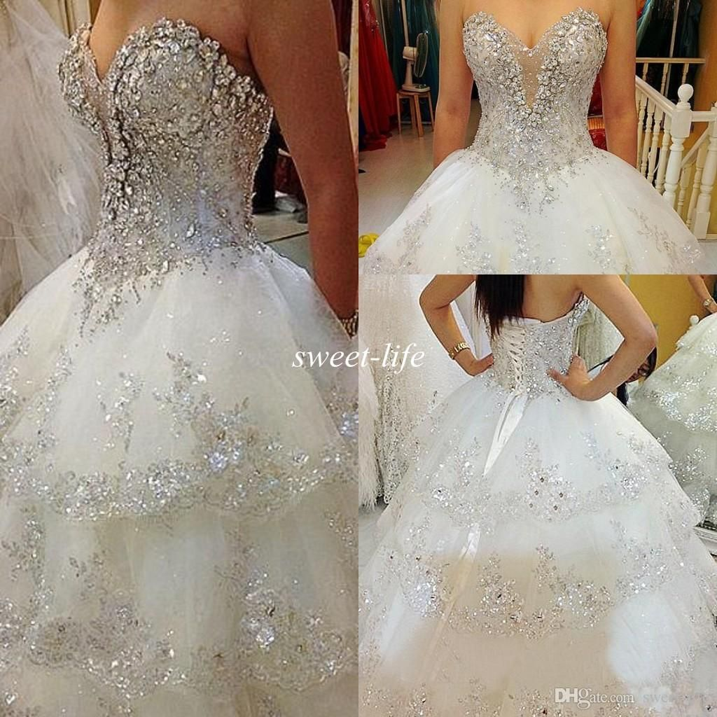 Sparkly Bling Wedding Dresses Ball Gown Crystals 2016 Sexy Sweetheart Corset Tulle Chapel Train Luxury Spring Fall Gowns Custom Made Online With: Sweet Ball Gown Wedding Dress Corset At Reisefeber.org