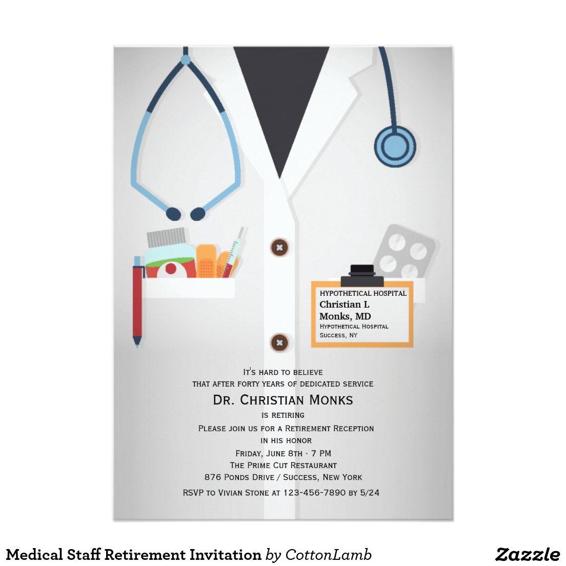 Medical Staff Retirement Invitation 5 X 7 Invitation Card – Humor Invitation Cards
