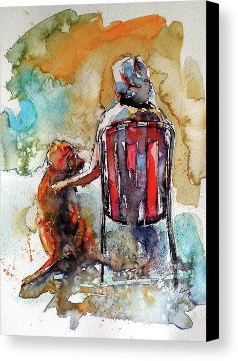 Friends Canvas Print featuring the painting Friends Forever by Kovacs Anna Brigitta