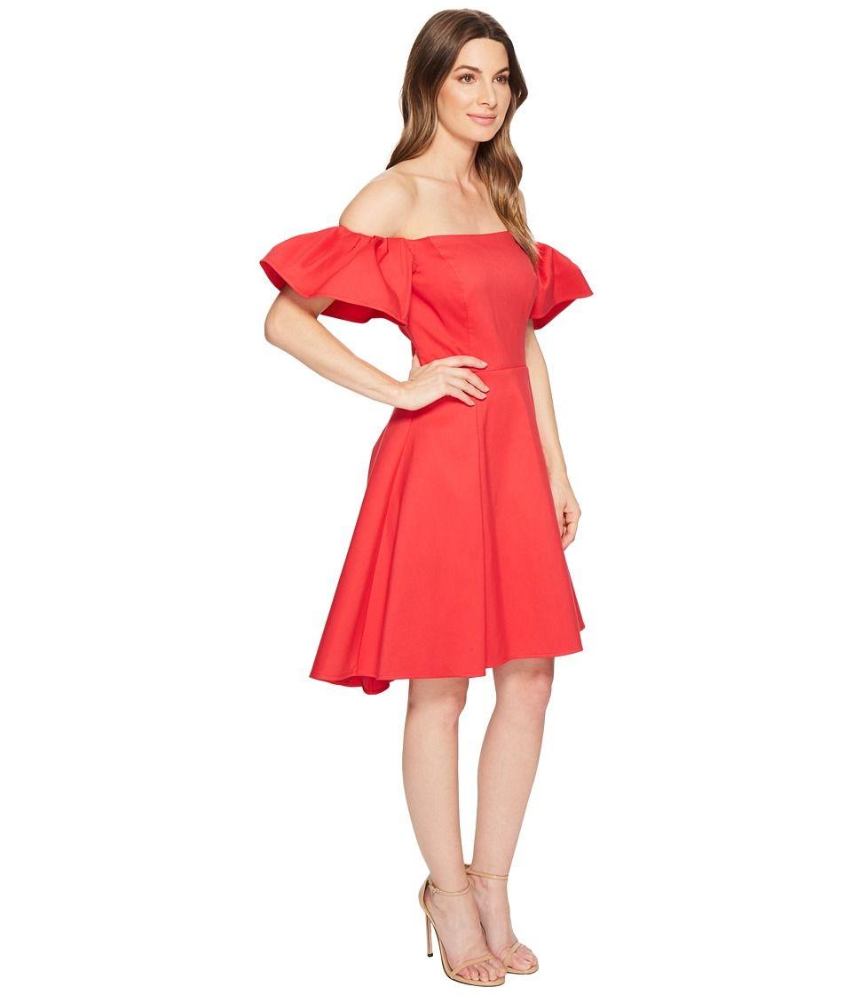 63f8b669cbec Halston Heritage Off Shoulder Flounce Sleeve Dress Women's Dress Rose Red