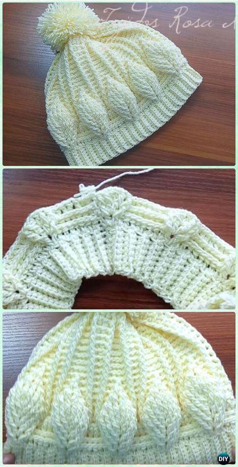 Hoja de ganchillo Beanie Hat 3D libres del patrón [Video] - Patrones ...