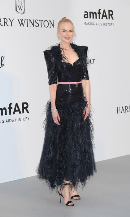 Nicole Kidman continues to wow in sequins on the amfAR Gala carpet.