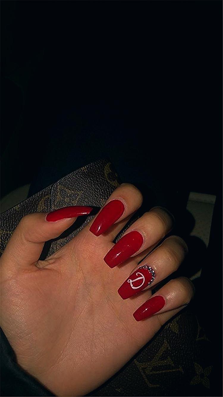 Photo of Trendy Winter Red Sarg Nagel Designs für Weihnachten und Neujahr; Red Long A …