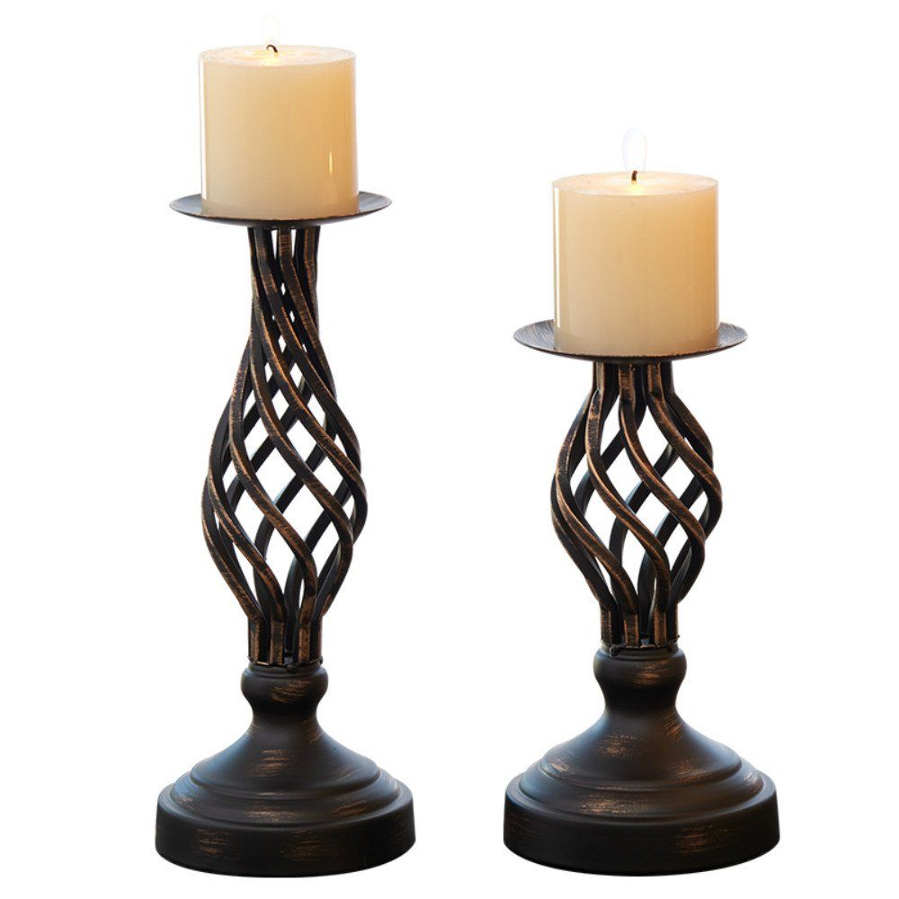 Hollow Candle Holder Set Of 2 Home Decor Pillar Candles Stand Rustic Decorated Holders For Fireplace Li Vintage Candle Holders Candle Holder Set Candle Holders