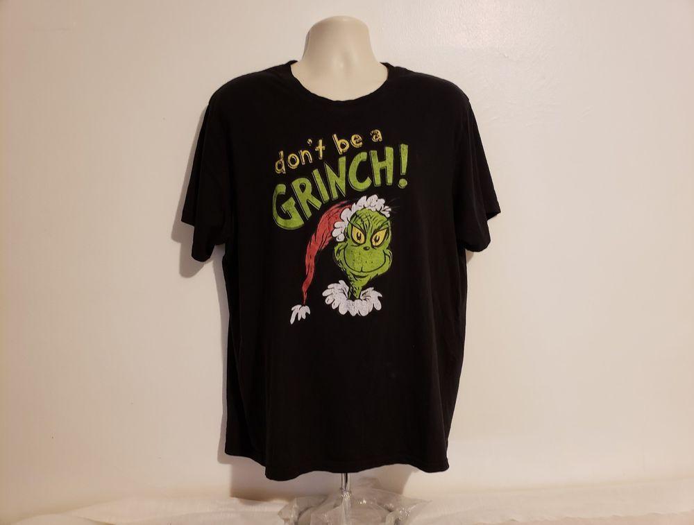 Dont be a grinch adult black xl tshirt drseuss