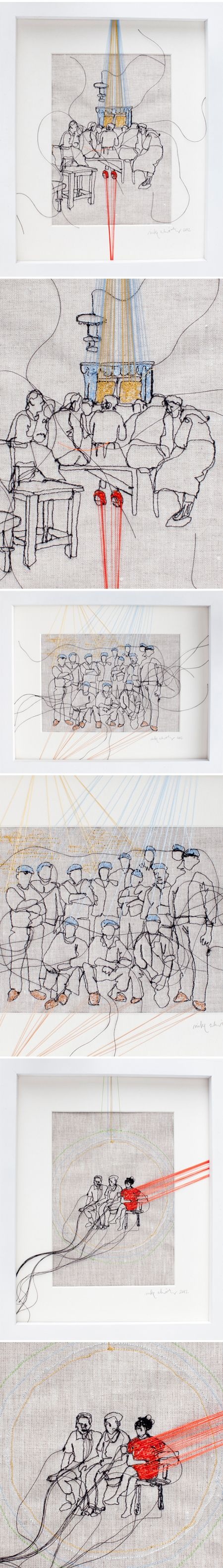 Amazing embroidery art by Nike Schroeder>The Jealous Curator.  REALLY COOL IDEA