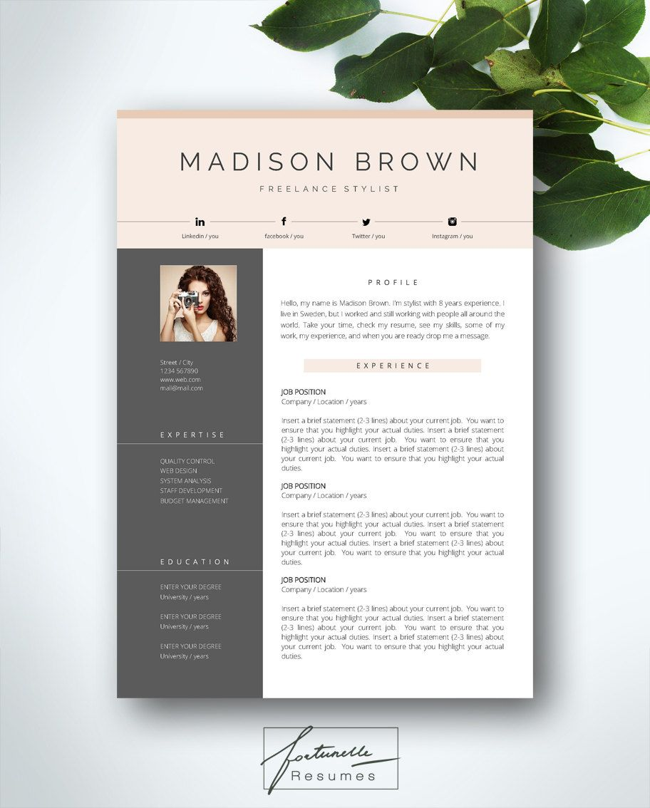 Resume Template 3 Page Cv Template Cover Letter Instant Download For Ms Word Brian Cv Template Resume Template Resume