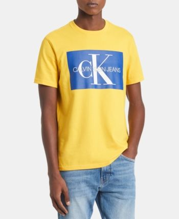 cf3ef6ab Calvin Klein Jeans Men's Monogram Logo-Print T-Shirt, Created for Macy's -  Yellow 2XL