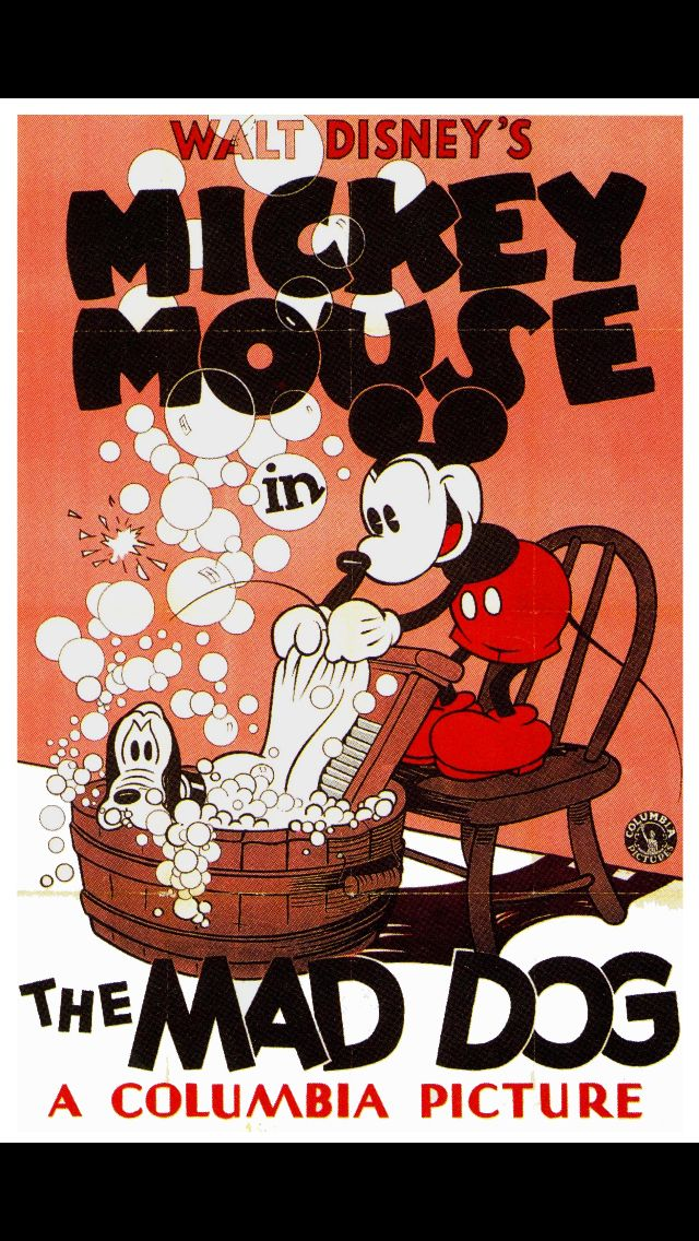 Mickey mouse Pluto Disney cartoon movie poster print 2 1932 The Mad Dog