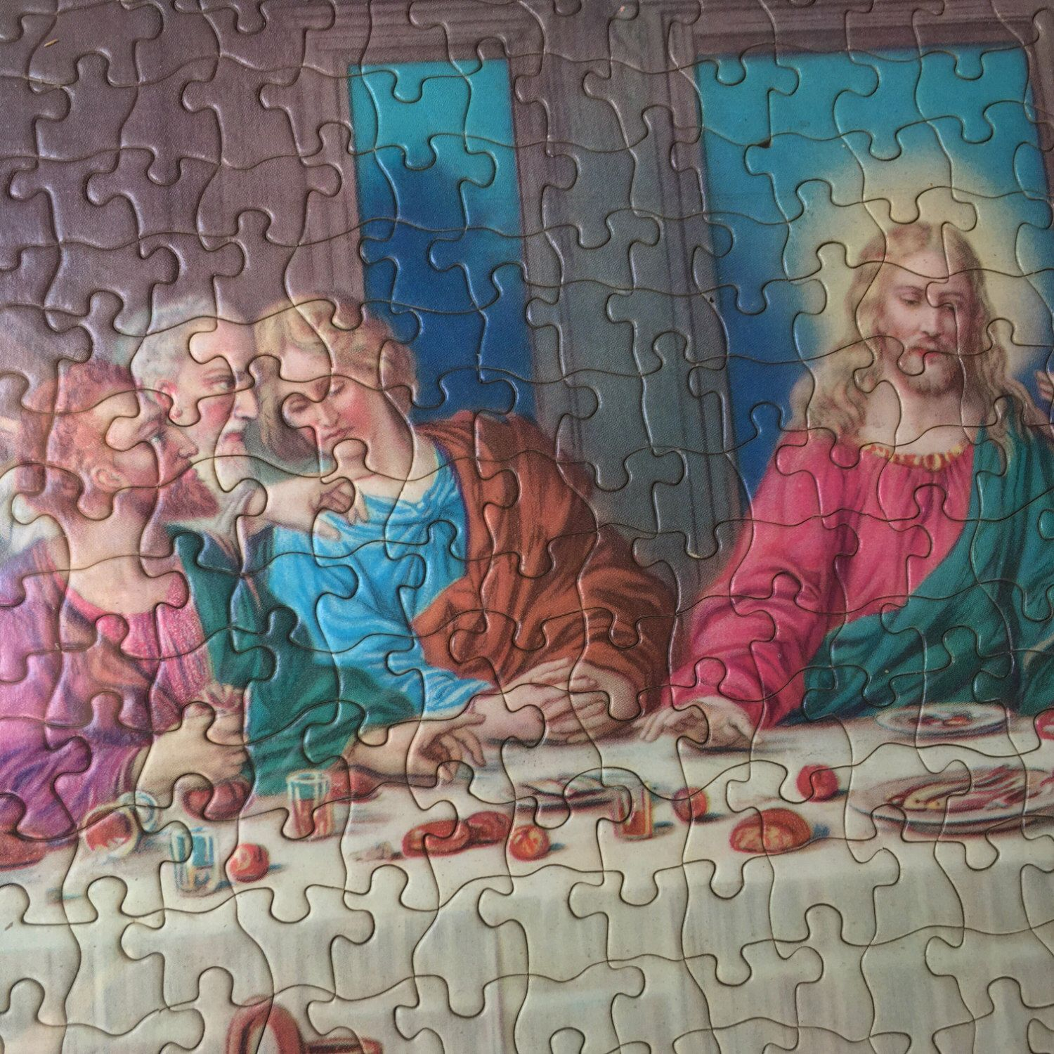 Large Vintage Framed Puzzle of The Last Supper-1960s-Milton Bradley-1000-Piece Puzzle-Kitsch-Home Decor by PriorStory on Etsy https://www.etsy.com/listing/479075207/large-vintage-framed-puzzle-of-the-last