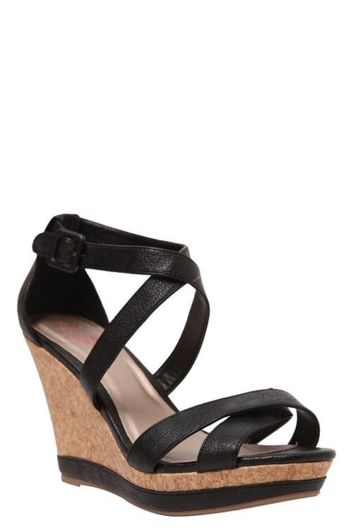 cce95c346d9 Lena Black Cork Sandal Wedges (Wide Width)