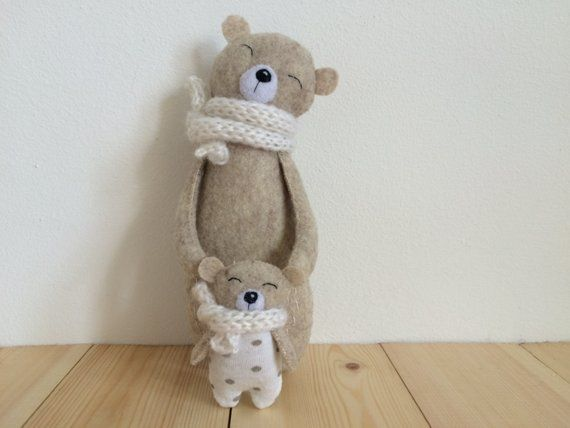 Mama Bear and Baby Bear, Stuffed Bear In Knitted Scarf, Felt Bear, Felt Animals, Teddy Bear Toy, Miniature Bear Woodland Plushie #beartoy