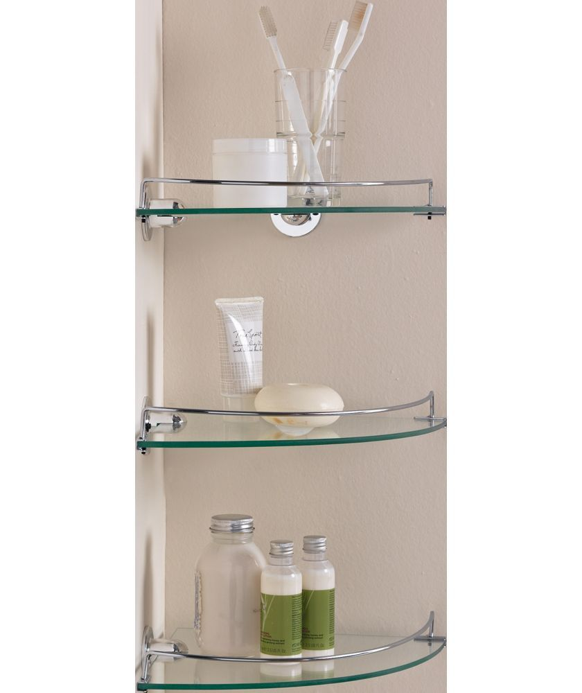 Buy glass corner shelves pack of 3 at your - Bathroom glass corner shelves shower ...
