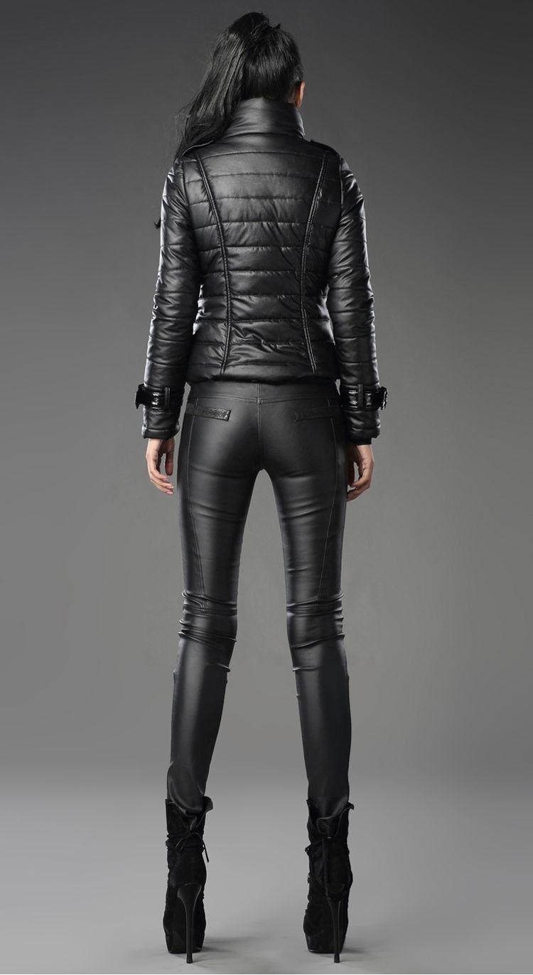 Leather look jacket and jeans | Leder leggings, Leder