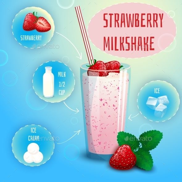 Strawberry Smoothie Milkshake Recipe Poster Print Milkshake Recipes Milkshake Strawberry Smoothie