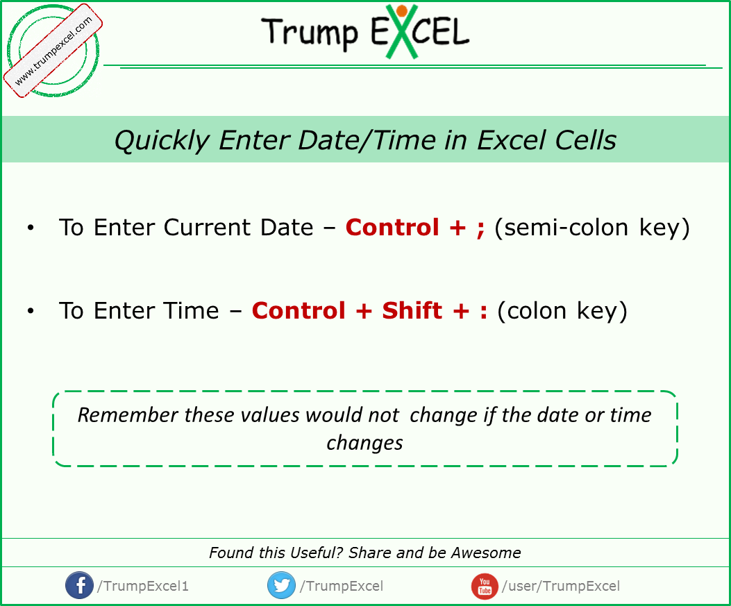 Excel Keyboard Shortcut To Enter Current Date And Time In Excel For More Excel Tips Visit