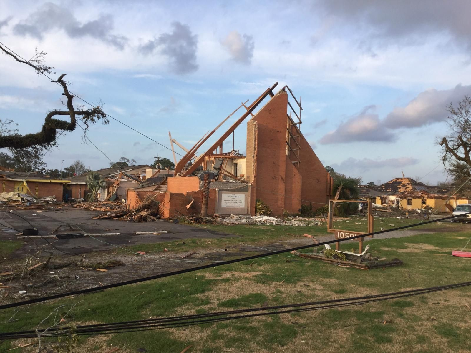 Church destroyed by tornado, New Orleans East, February 7