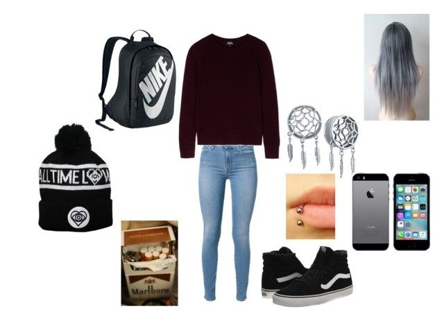 """""""Hourglass - Trophy Eyes"""" by music-ate-my-soul ❤ liked on Polyvore featuring A.P.C., Vans and NIKE"""