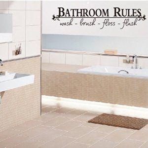 Bathroom Rules Wash Brush Floss Flush Quote Bathroom Rules Bathroom Wall Decals Wash Brush Floss Flush