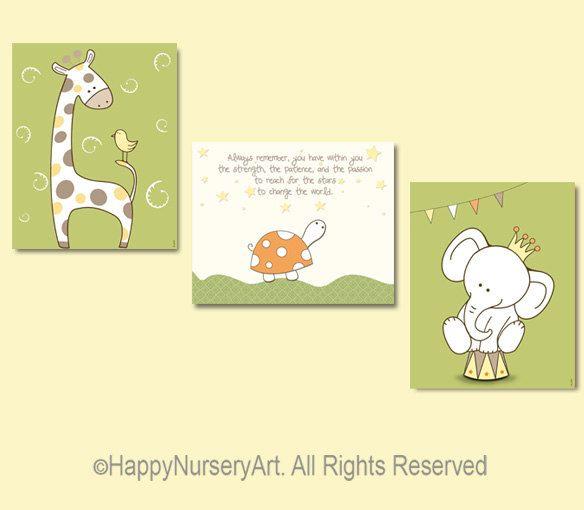 Giraffe turtle elephant nursery art prints set, kids room decor ...