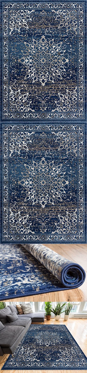 """Coverly Blue & Beige Vintage Medallion Traditional Persian Oriental Area Rug 5 x 7 ( 5'3"""" x 7'3"""" ) Neutral Modern Shabby Chic Thick Soft Plush Shed Free"""