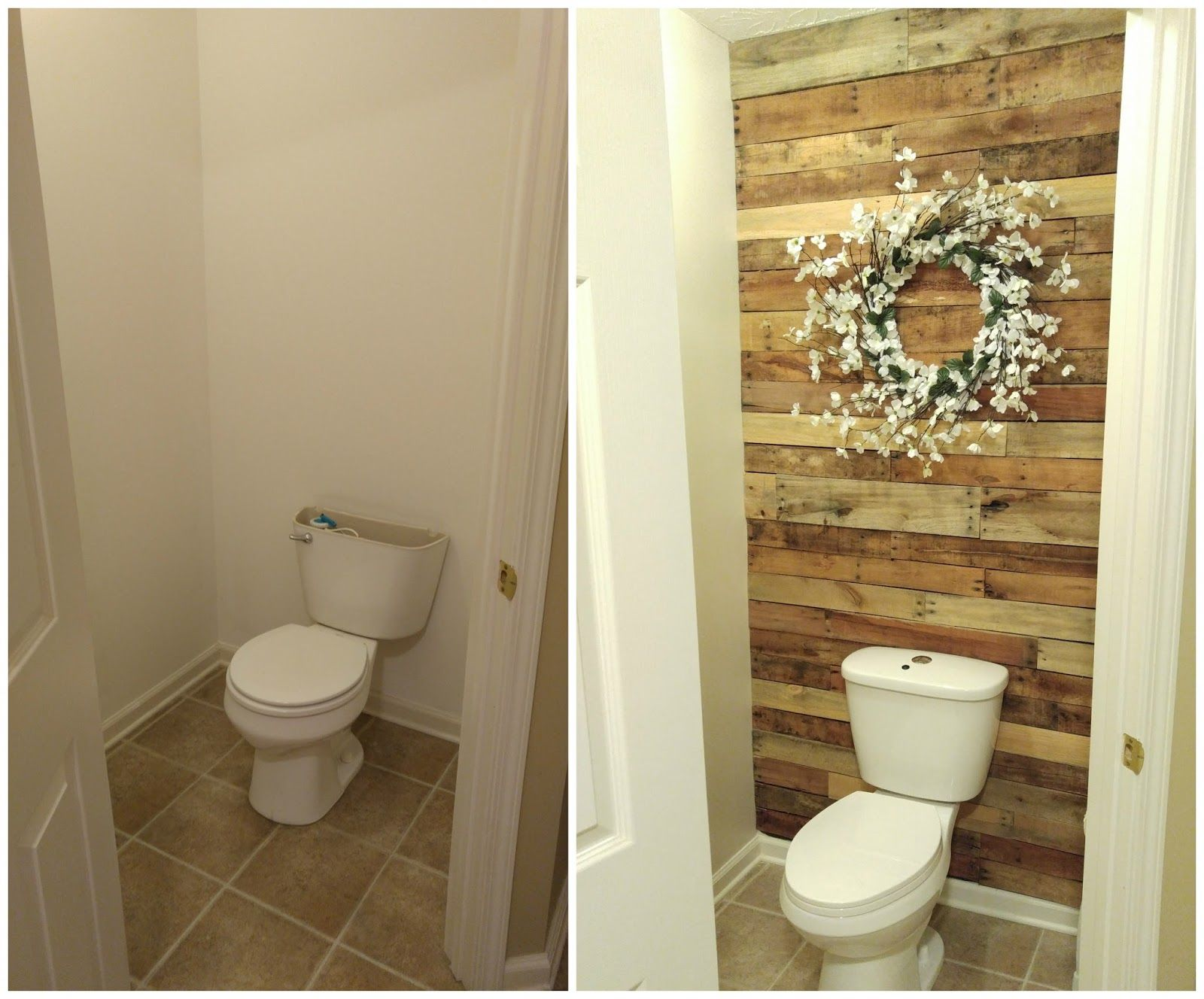 DIY Pallet Wall in the water closet  Wood pallet wall with wreath     DIY Pallet Wall in the water closet  Wood pallet wall with wreath  Bathroom  renovation