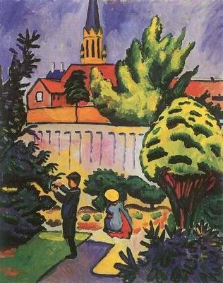 kids in garden by Auguste Macke