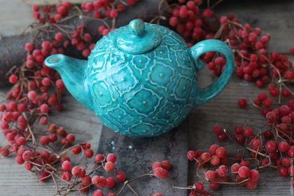 """Чайники, кофейники ручной работы. Ярмарка Мастеров - ручная работа. Купить чайничек """"Azure"""" мини. Handmade. Бирюзовый, восточный стиль"""
