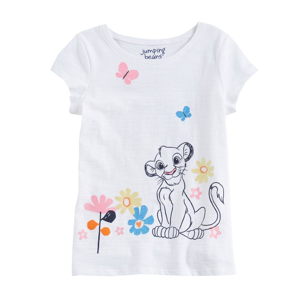 90a1f61c1f6b Disney's The Lion King Girls 4-10 Glitter Graphic Tee by Jumping Beans®,  White