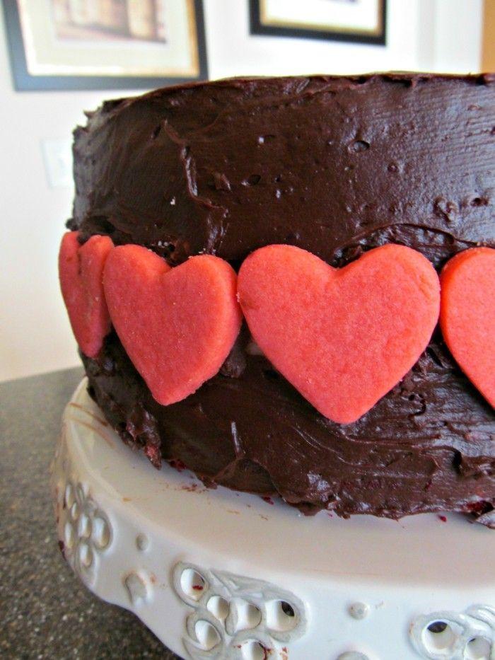 Valentinstag Ideen Torte Schokolade Dekoration Herzen