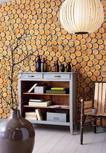 Cómo revestir una pared con rodajas de madera buenos diseños - paredes de madera