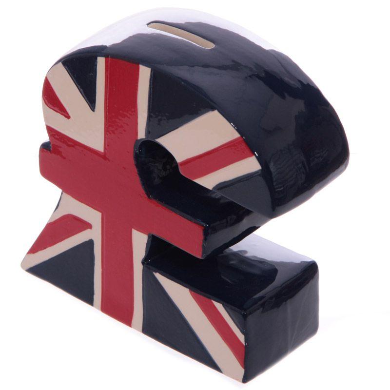 Union Jack pound sign money box