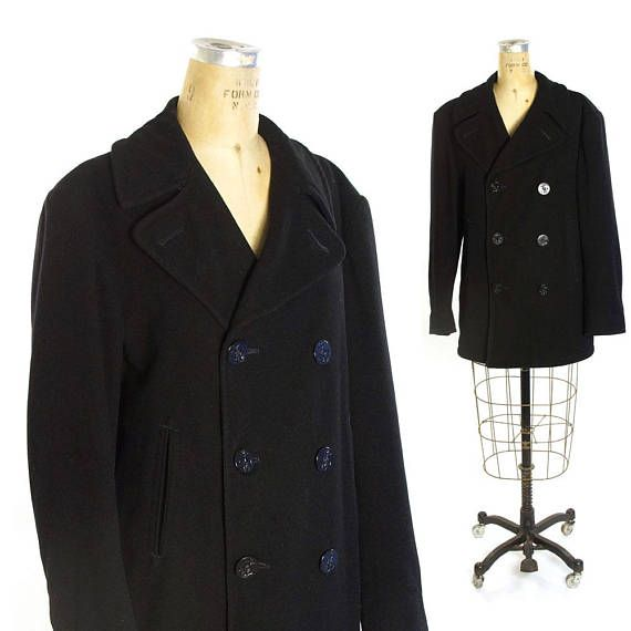 3845f17f471b Navy Wool Peacoat Vintage 1980s United States Military Sailor Double  Breasted Wool Coat Nautical Win