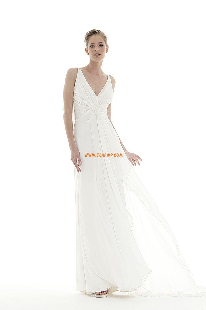 e59c9f64012 Áčkový střih Vlečka na zem Bez rukávů Levné svatební šaty
