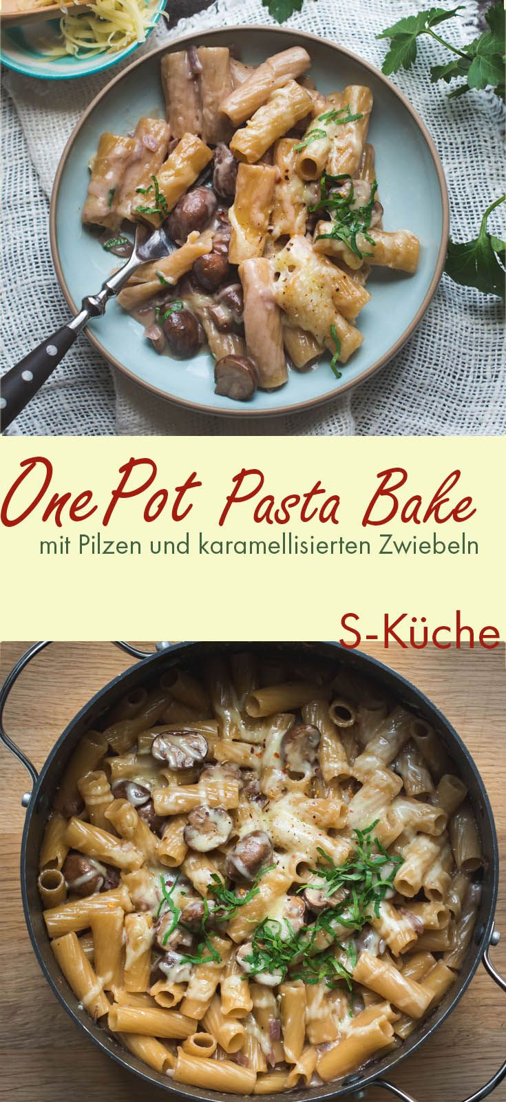 Photo of Creamy one pot pasta with mushrooms, caramelized onions