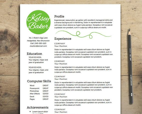 Resume Template DIY Resume The Baker Resume Design Instant