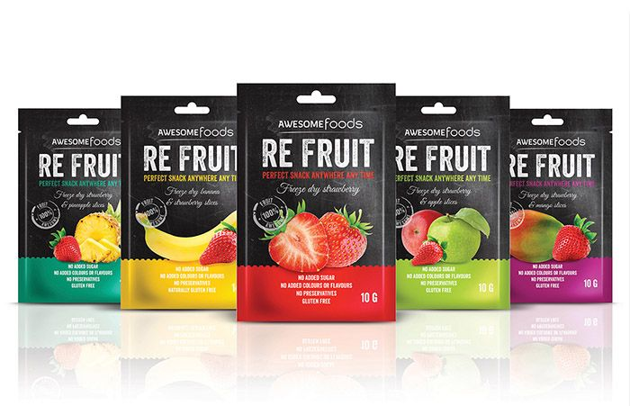 Awesome Foods – RE FRUIT -  Snacks Packaging Design Inspiration. Designed by: Hayley Aroha, New Zealand.