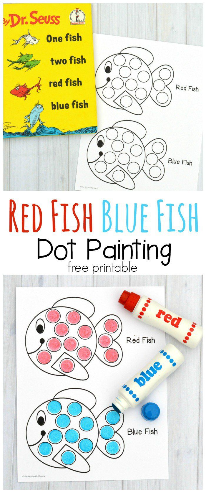 image about One Fish Two Fish Printable called Pink Fish Blue Fish Dot Portray Sport The Innovative