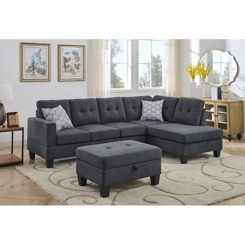 Azzay 98 Chenille Right Hand Facing Sofa And Chaise With Ottoman Small Room Sectional Sectional Chaise Sofa