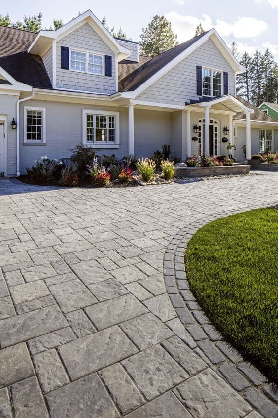 22 Driveway Ideas   Spruce Up the Path to Your Home is part of Patio pavers design, Paver patio, Patio stones, Patio design, Paver stone patio, Patio - Changing your driveway style will give an entirely new look to your house and improve its curb appeal  These ideas will give you the perfect opportunity to transform an apparently suburban facet into a lasting impression