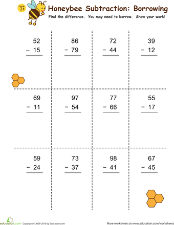 Subtraction with Borrowing: Honeybees! | Math, Worksheets and School
