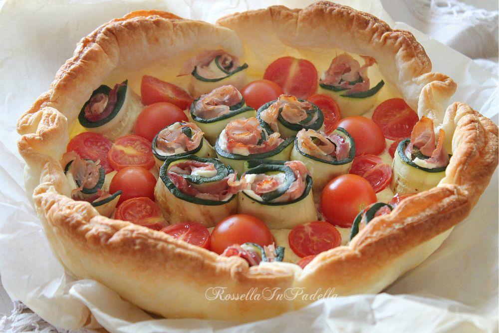 Sfoglia salata con rose di zucchine e ricotta