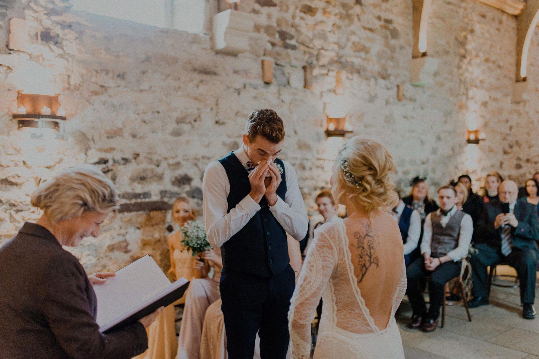 emotional groom, healey barn wedding, chris randle photography, northumberland wedding,
