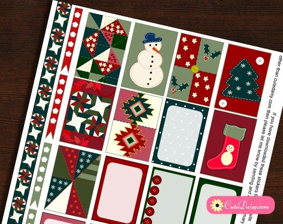 Free Printable Quilt inspired Christmas Stickers Kit for Happy