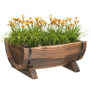 Wooden Half Barrel Garden Planter (Large), Brown, Size L #QI003140, Outdoor  Décor